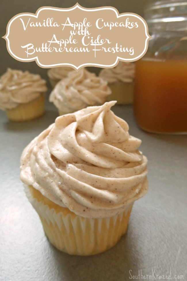 Vanilla Apple Cupcakes with Apple Cider Buttercream Frosting by Southern Krazed