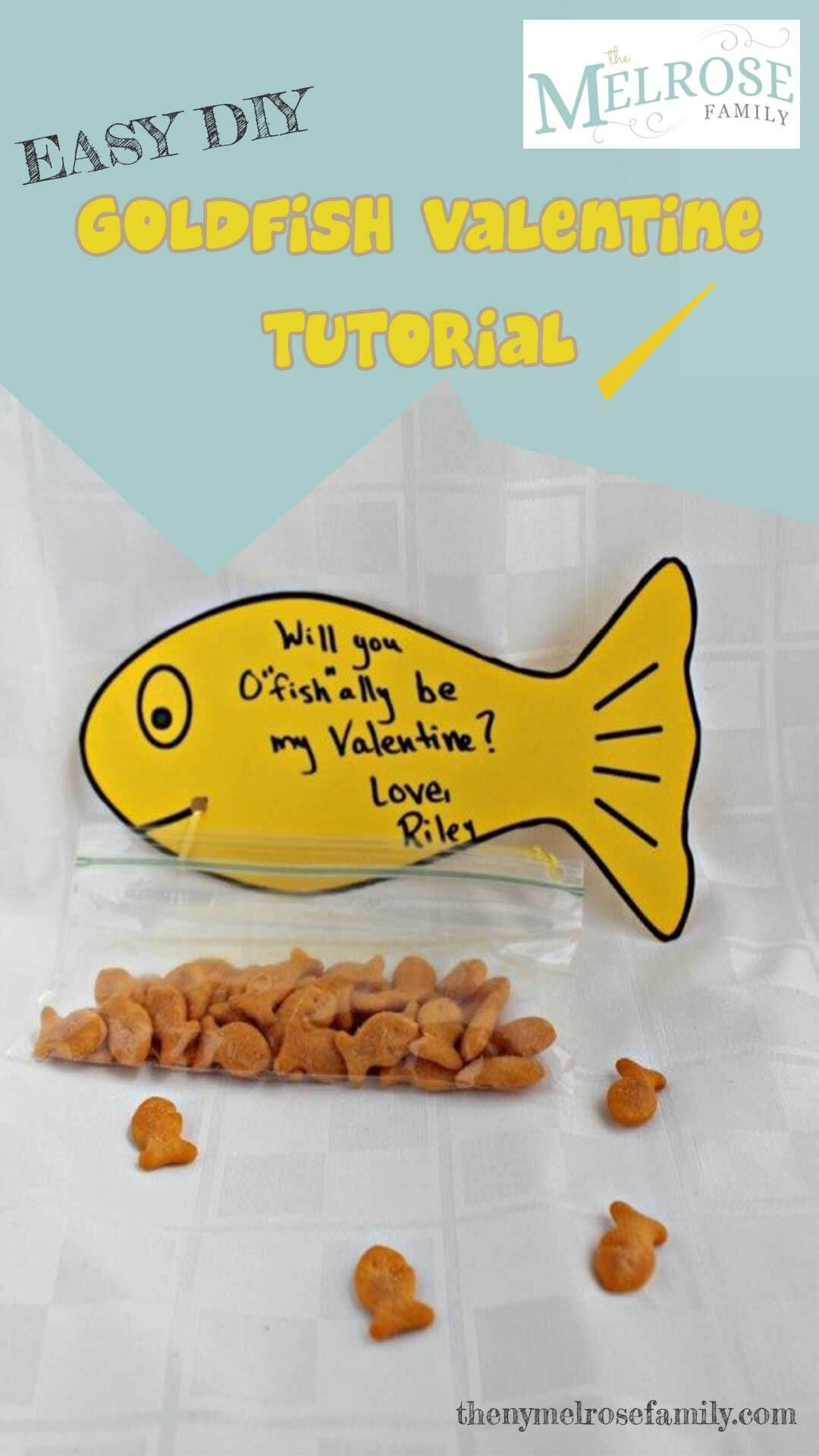 A simple Goldfish Valentine filled with goldfish crackers that are perfect Valentine for toddlers. via @jennymelrose