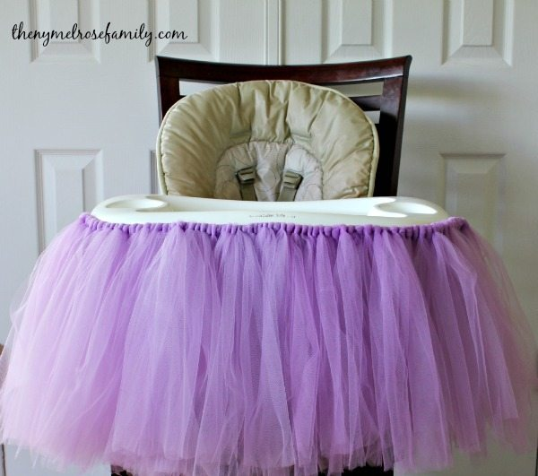 First Birthday Party Highchair Tutu placed on the highchair