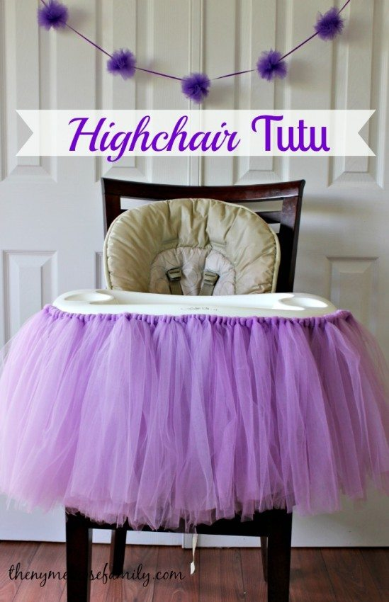 No Sew Highchair Tutu around a highchair set up for a First Birthday Party