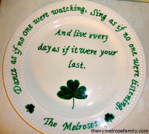 Shamrock & Irish Blessing Plate Flat