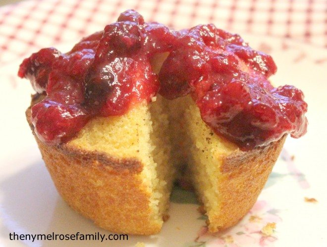 Honey Corn Muffins with Cranberry Sauce