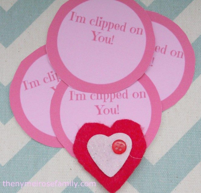 I'm Clipped on You! Valentines