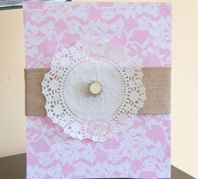 Vintage Lace and Burlap Doily Art