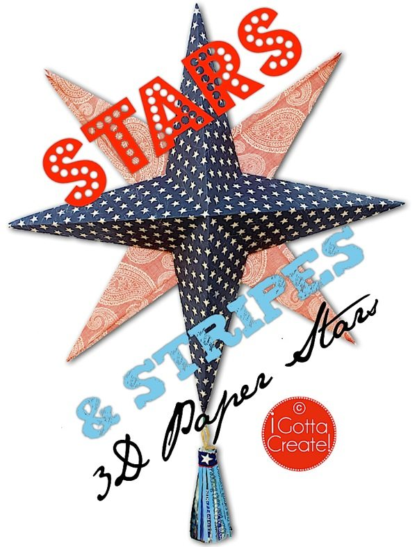 3d paper star and stripes angle at I Gotta Create