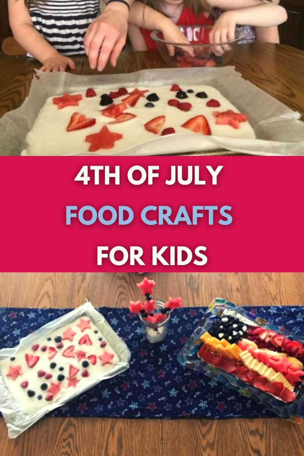 These 4th of July food crafts for kids are super-fun and easy to make. And most importantly, they are red, white and delicious. #4thofjuly #4thofjulyfoodcrafts #kidscrafts #foodcrafts #nymelrosefamily via @jennymelrose