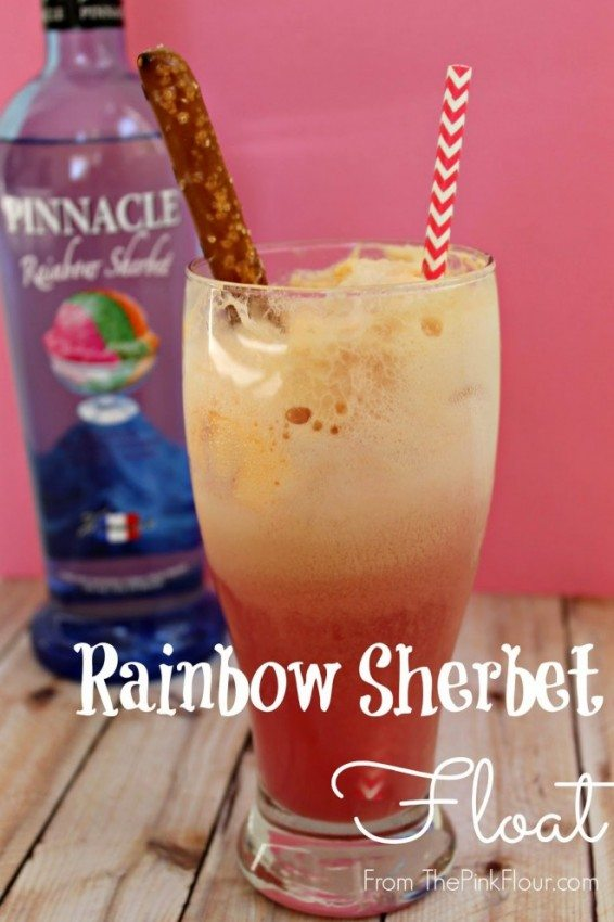 {Grown-up} Rainbow Sherbet Float from www.thepinkflour.com