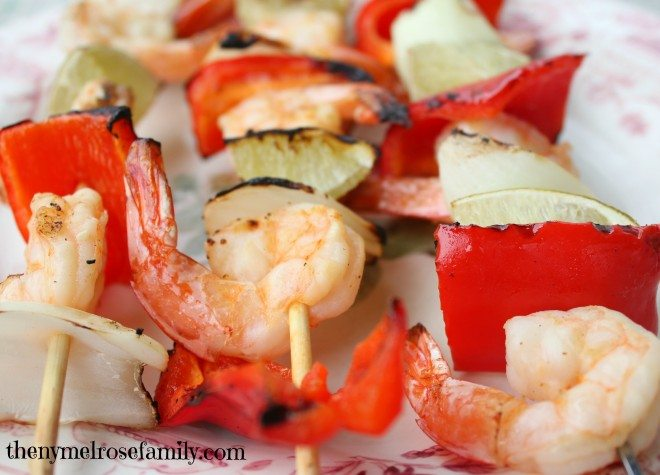 Lime Tequila Shrimp Kabobs charred