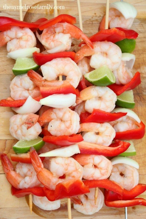 Lime Tequila Shrimp Kabobs with Red Peppers