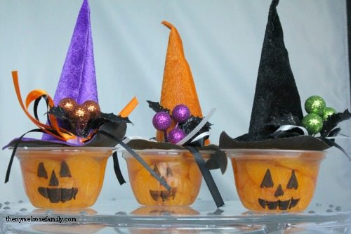Pumpkin Fruit Cups with Witch Hats