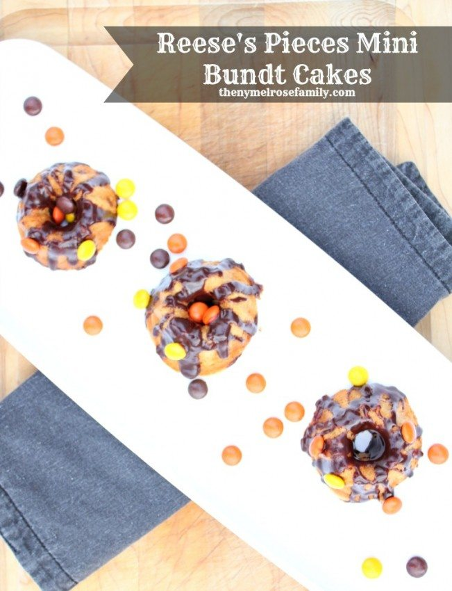 3 Resses Pieces Mini Bundt Cakes on a white tray