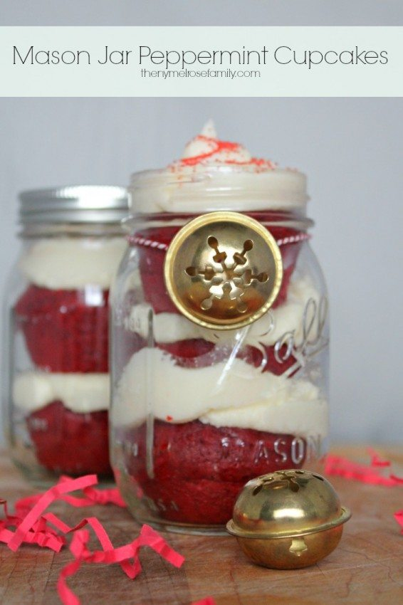 Mason Jar Peppermint Cupcakes