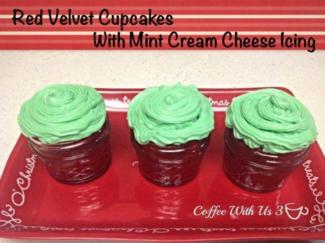 red velvet mint cupcakes