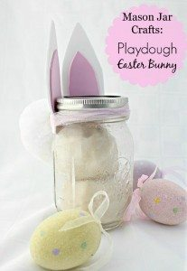 Mason Jar Crafts Playdough Easter Bunny