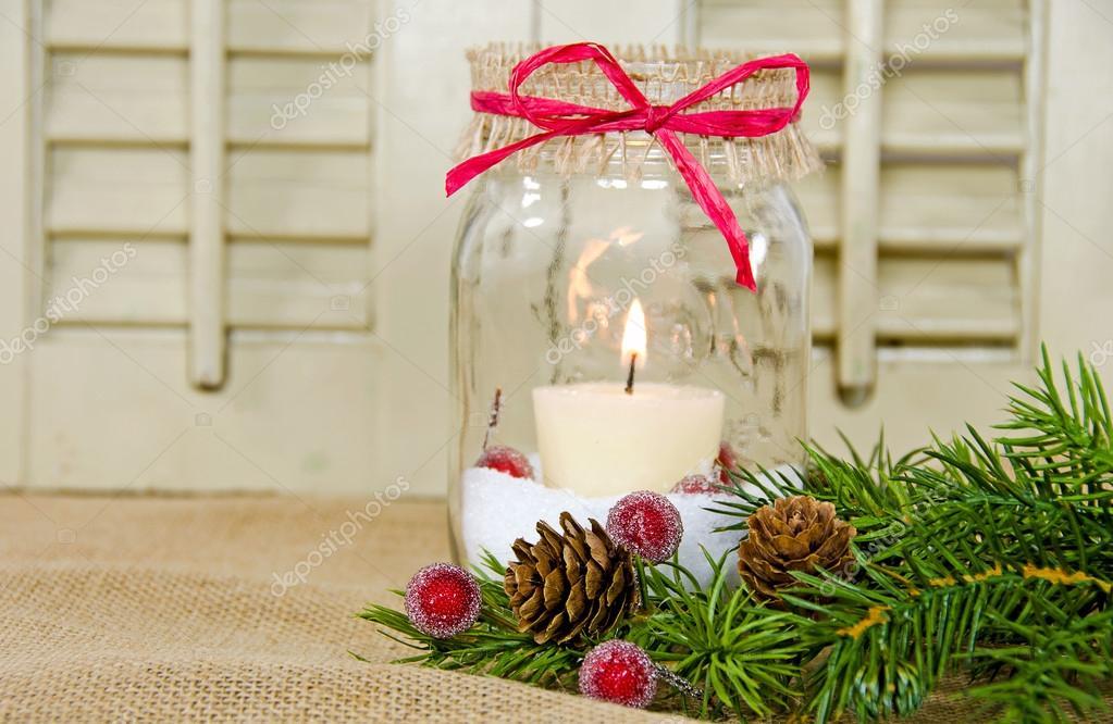 Mason Jar Candle with ribbon