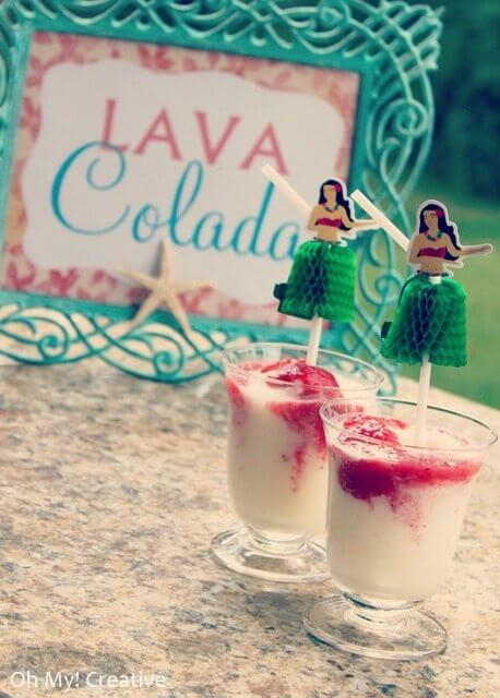 Lava Colada – Hawaiian Luau Drink easy version of the Lava Flow drink, enjoyed by many while visiting Hawaii.