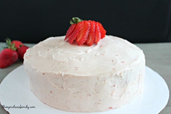 Strawberry Frosting on Strawberry Cake