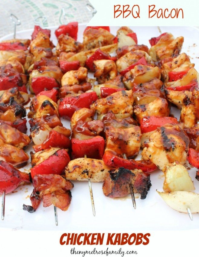 Are you in need of the perfect chicken recipe for your barbecue?  Look no further because these BBQ Bacon Chicken Kabobs are going to knock your socks off!
