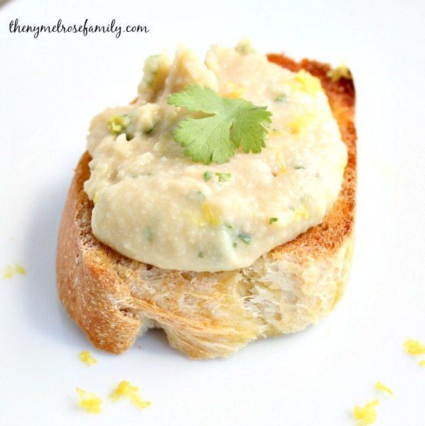Cold Appetizers Crostini with Chick Pea Cilantro Yogurt Spread