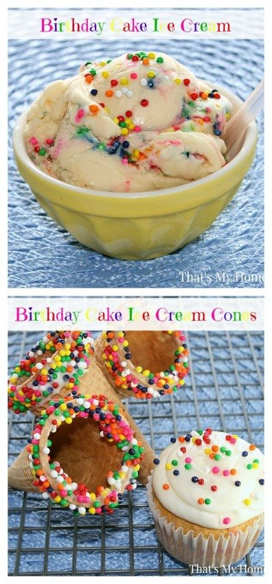 Birthday Cake Ice Cream and Cones