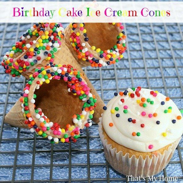 Birthday Cake Ice Cream Cones