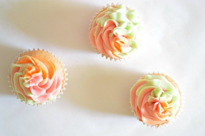 Rainbow Sherbet Cupcakes Swirled Frosting