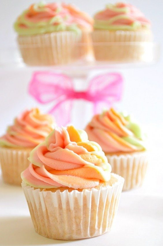 Rainbow Sherbet Summer Cupcakes