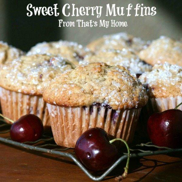Sweet Cherry Muffins with fresh cherries