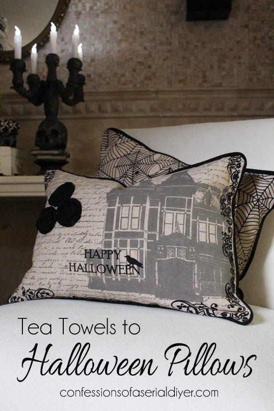 Halloween-Tea-Towel Throw Pillows