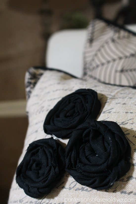 Halloween Throw Pillows with rosettes