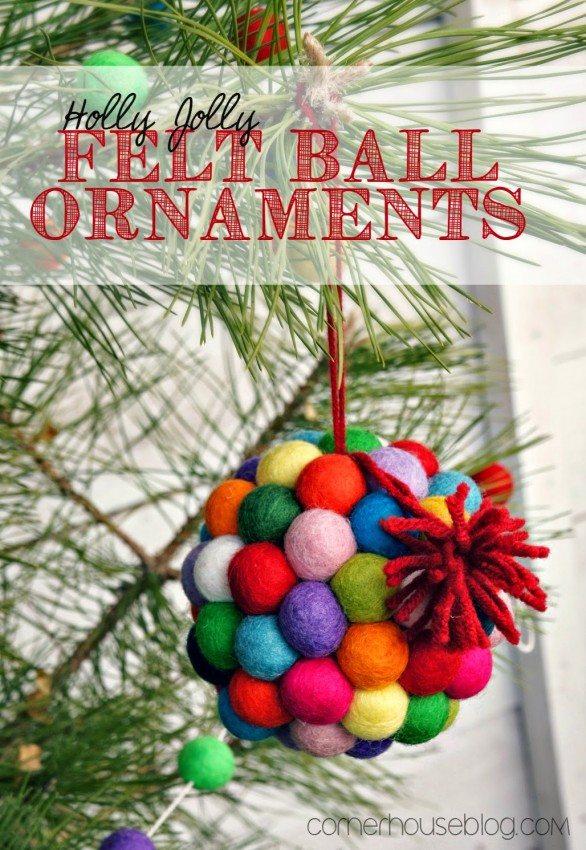 Colorado Christmas Ornaments Part - 23: Felt Ball Christmas Ornaments