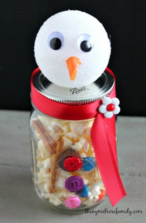 Mason Jar Melted Snowman Popcorn