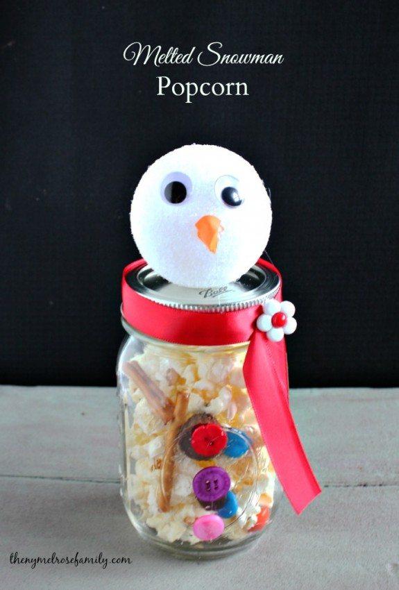Melted Snowman Popcorn in Mason Jar