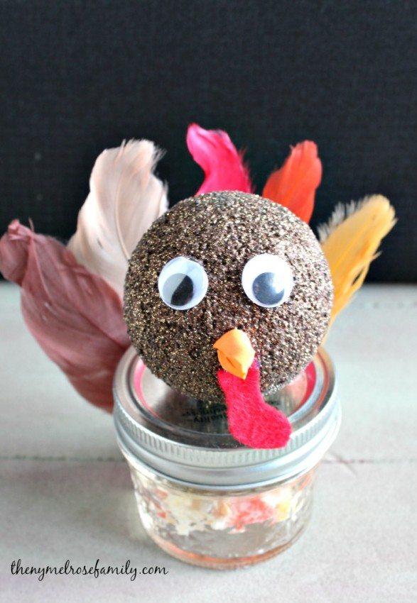 Thanksgiving Turkey Jar for Popcorn