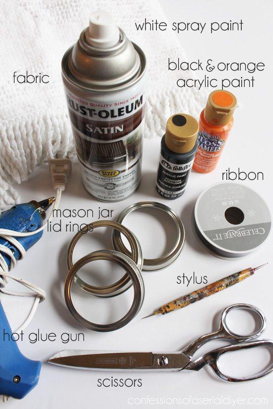 Mason Jar Lid Snowman Ornament Supplies