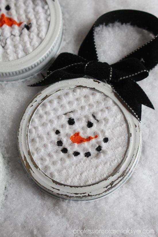 Sanded Mason Jar Lid Snowman Ornaments