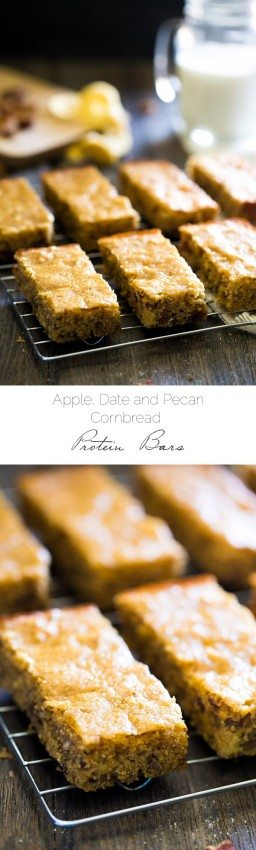 Apples, Dates and Pecan Cornbread Protein Bars