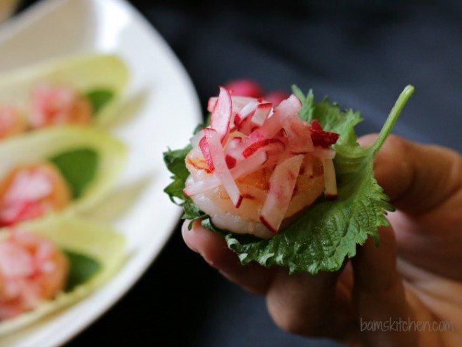Garlic Shrimp Boats with Pickled Radish