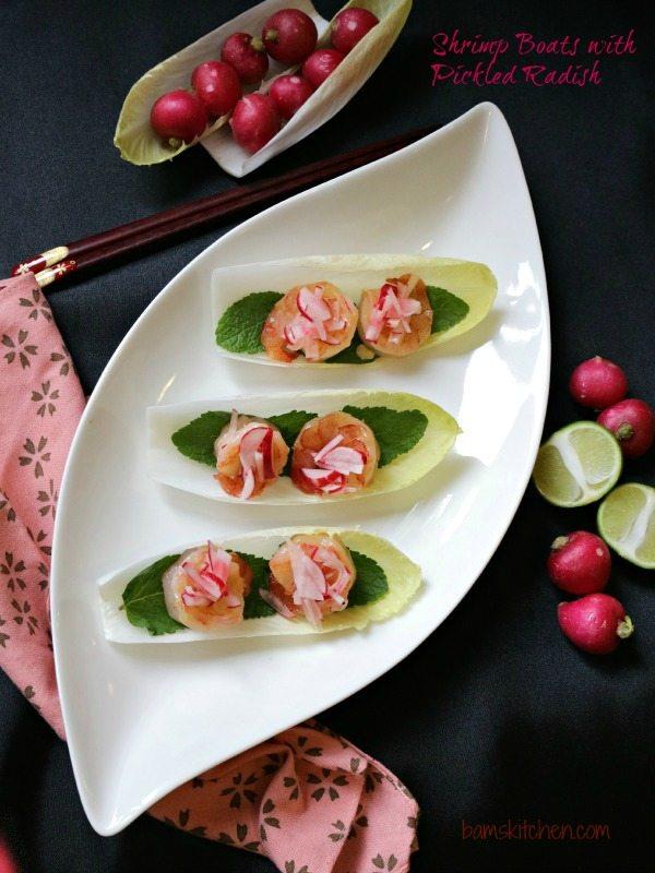 Garlic Shrimp with Pickled Radish