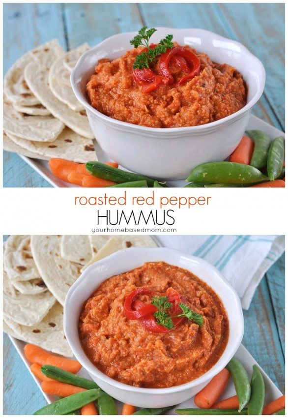 Roasted Red Pepper Hummus Healthy Snack