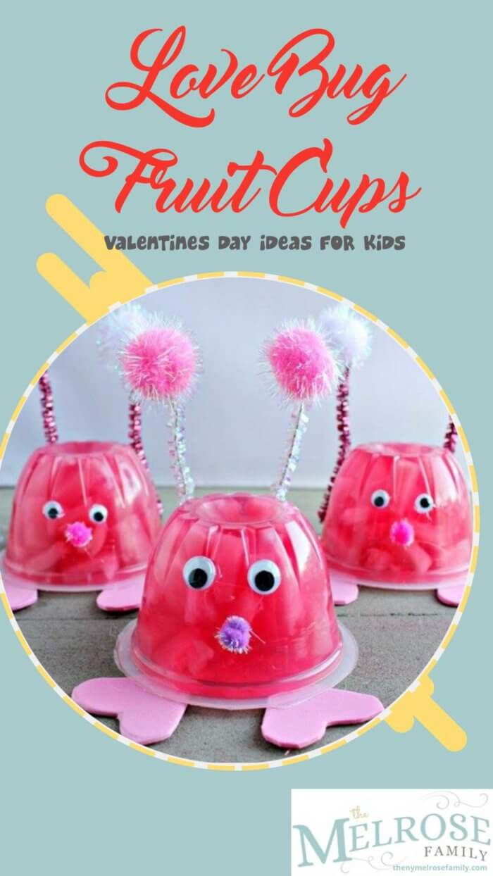 The Valentines Day Idea For Kids, Love Bug Fruit Cups on a table