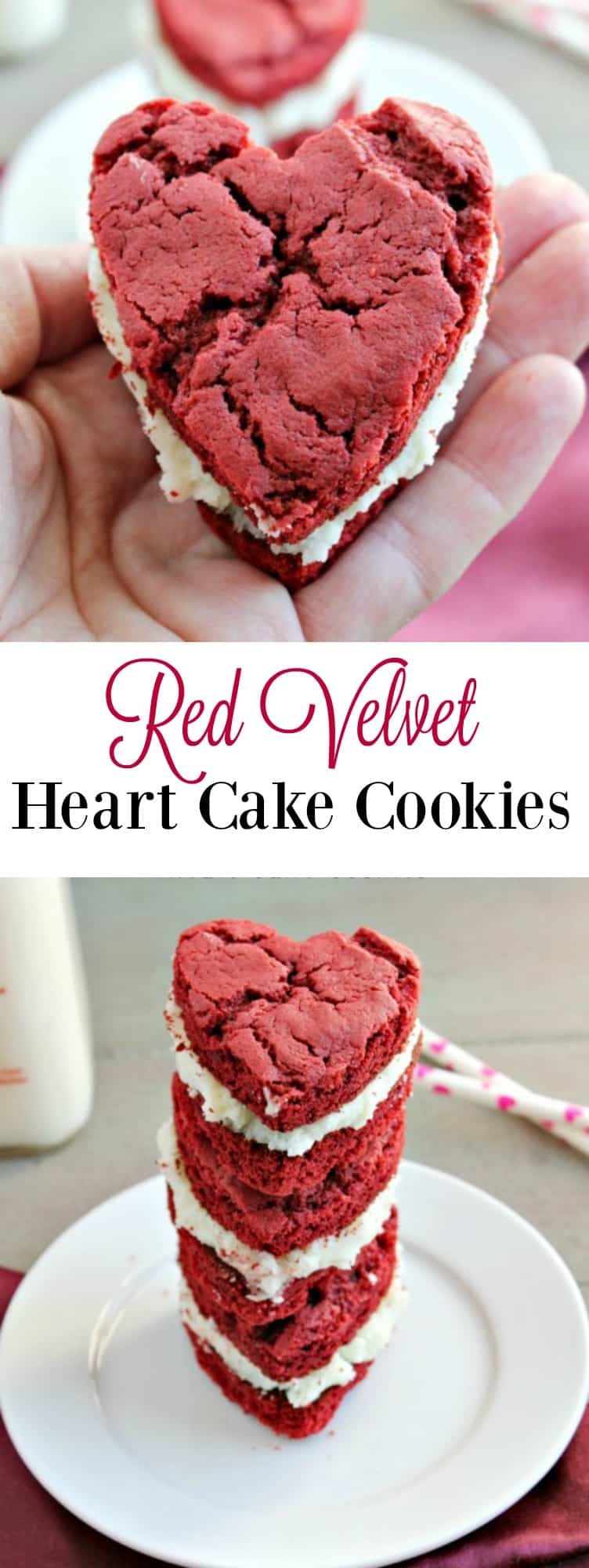 Red Velvet Heart Cake Cookies are the perfect dessert to make for Valentine's Day.