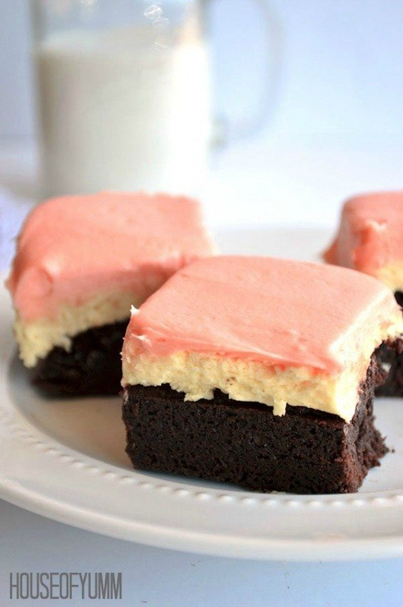 Strawberry Vanilla Frosted Neapolitan Brownies