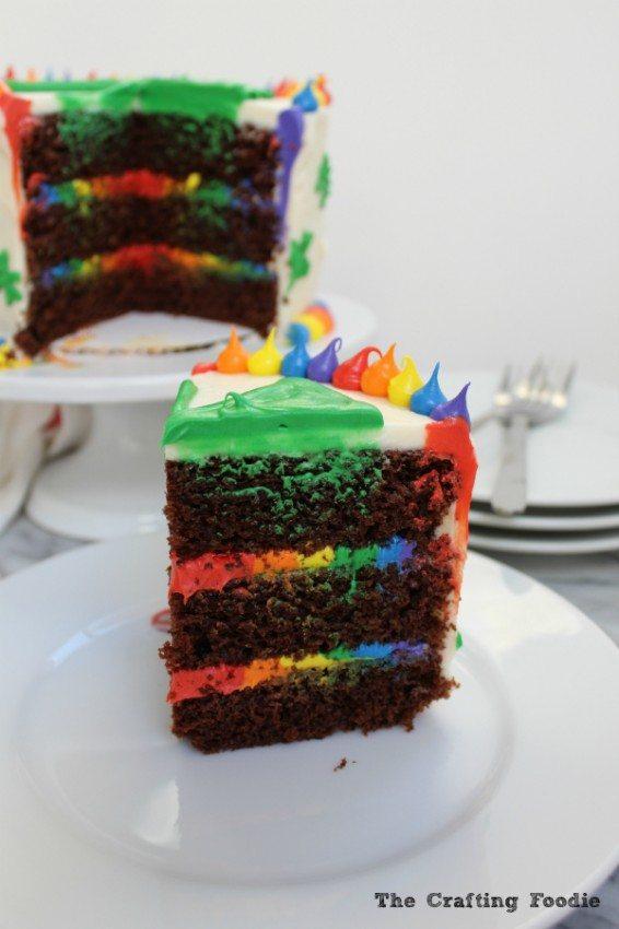 Chocolate Rainbow Cake Sliced