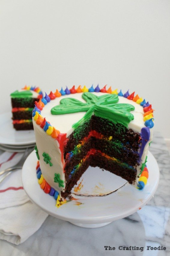 Chocolate Rainbow Cake for St. Patrick's Day