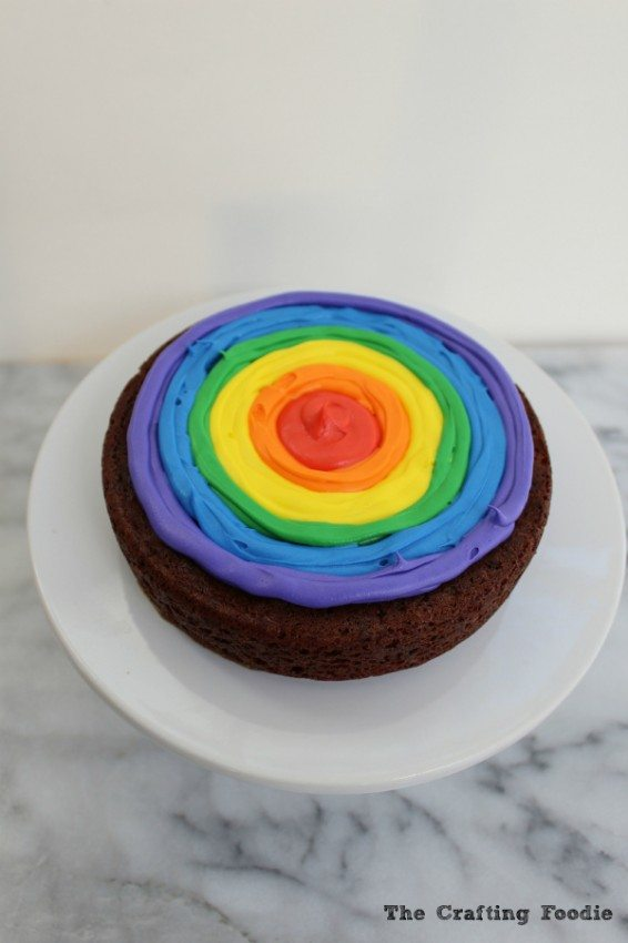 Chocolate Rainbow Cake inside Frosting