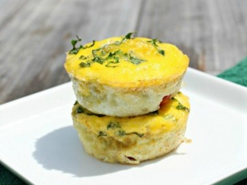 2 veggie egg cups stacked on a plate