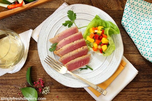 Yellow Fin Tuna with Mango Salsa Dish