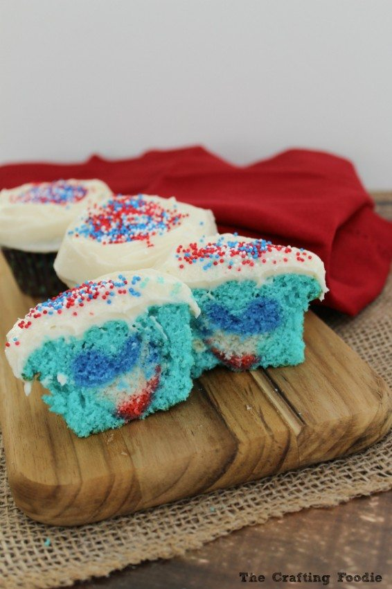 Patriotic Cupcakes with a Flag Heart hidden inside.