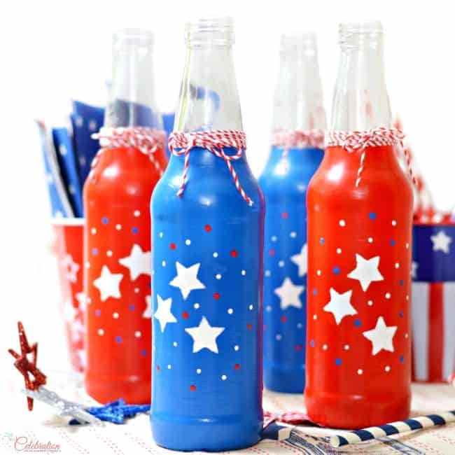Patriotic Soda Bottles Stenciled